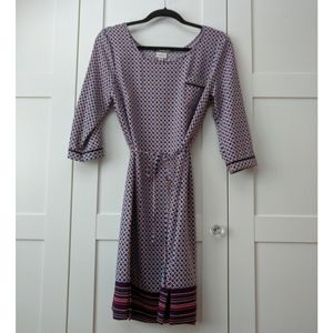 Tile Pattern Tunic Dress with Pocket